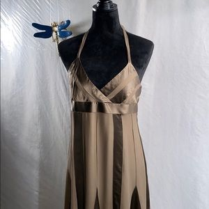 BCBG maxazria brown halter dress